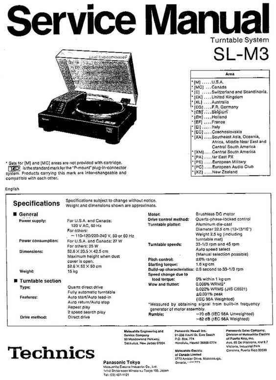Technics SL-M3 Turntable , Service Manual * PDF format