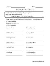 Abbreviating Street Names Abbreviations Worksheet