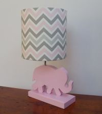 Small Pink/Grey/White Chevron Drum Lamp Shade - Nursery or ...