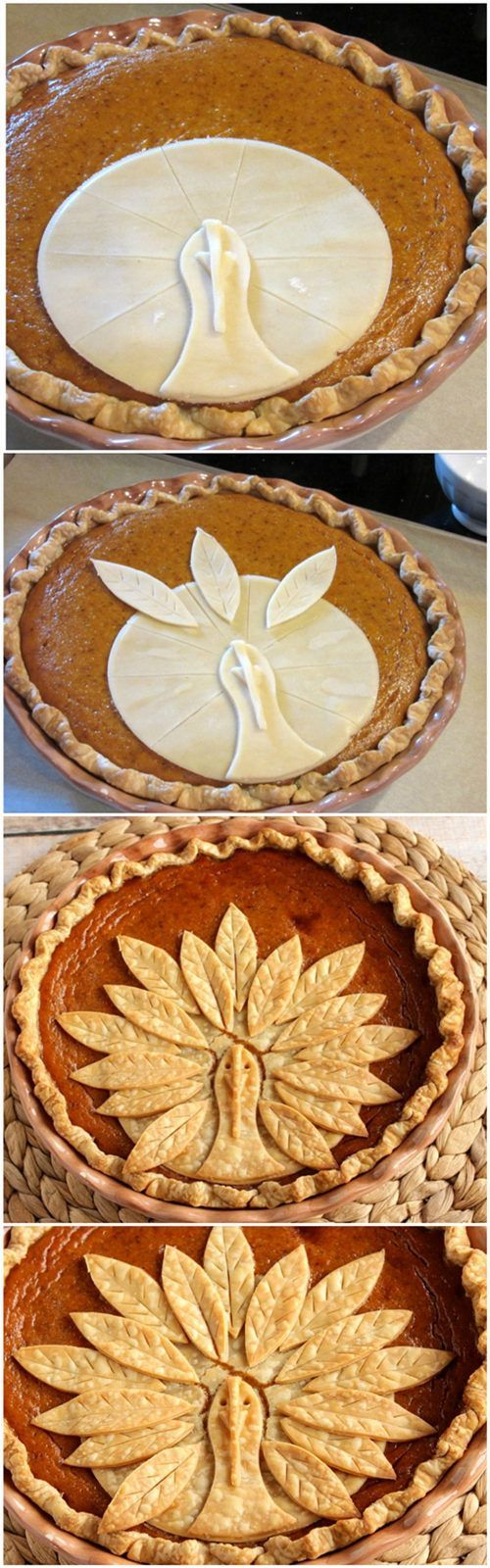 Adorable Turkey Crust Pumpkin Pie:
