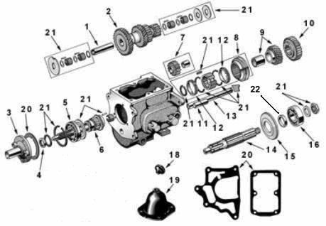 T-90 Transmission Exploded View Diagram Willys Jeep T-90