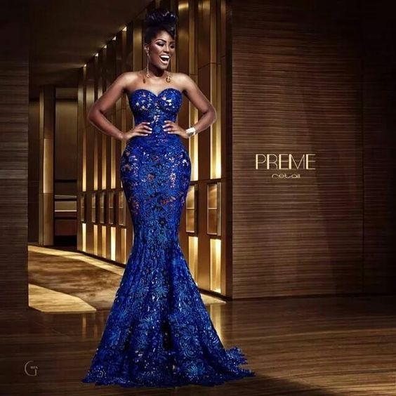 Absolutely gorgeous royal blue lace evening dressLatest