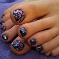 Toenails by nailedbyceline. Navy blue sparkly polish w ...