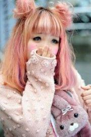 pastel pink and orange medium length