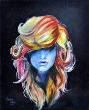 girl with long colored hair covering