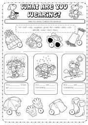 English teaching worksheets: What are you wearing