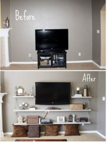 great idea for an entertainment center without having to buy a big piece of furniture: