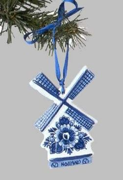 "View a larger picture of Christmas Ornament Delft ""Windmill with Flowers"" Blue:"