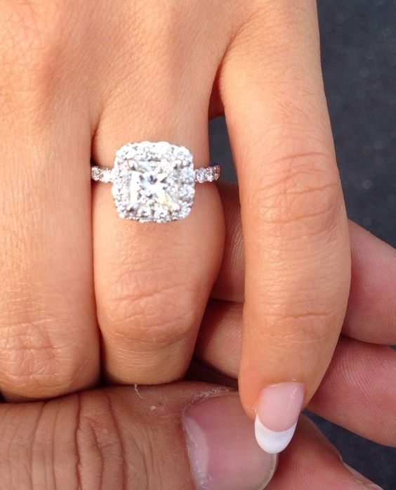 Princess cut diamond with halo engagement ring ~ Massive CLEARANCE SALE exclusively at #Capri #Jewelers #Arizona ~ www.caprijewelersaz.com ♥: