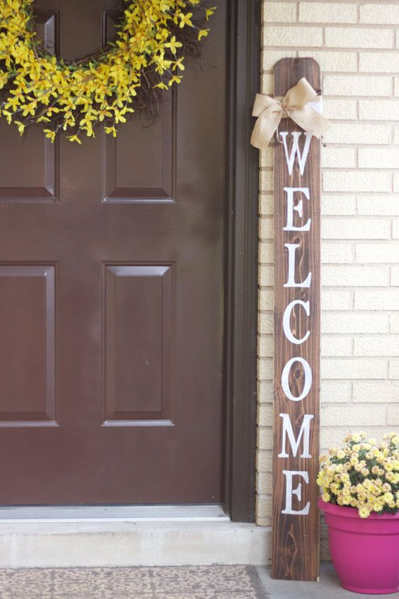 WELCOME Front Porch Wooden Sign, Welcome Sign, Front Porch