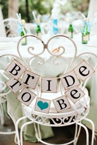 Bride to be wedding vintage heart sign chair rustic teal ...