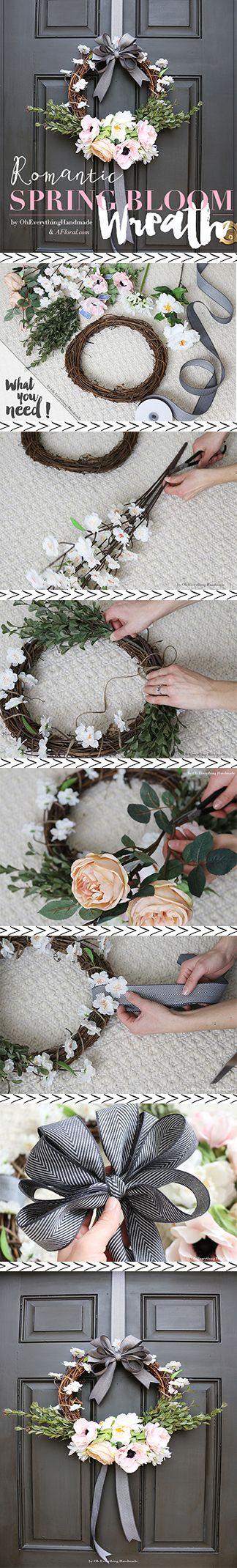 Romantic DIY Spring Bloom Wreath Tutorial via oh everything handmade