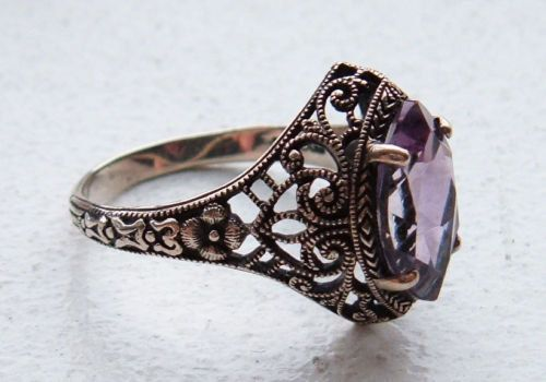 Stunning Victorian Art Nouveau Amethyst Sterling Silver