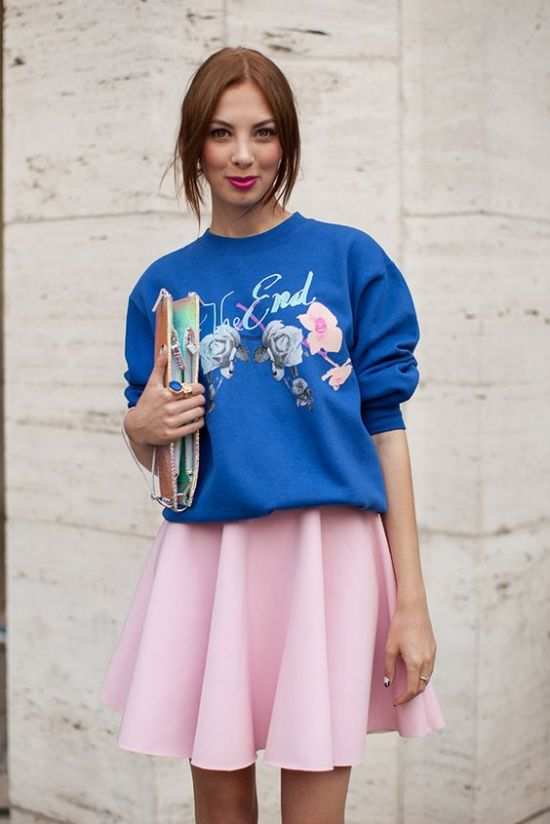 A flippy skirt is always a safe choice to combine with your statement sweat.: