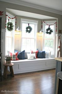 Bay window seat in kitchen decorated for Christmas ...