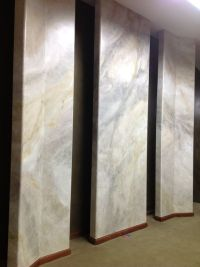 Faux Marble on sheetrock panels gives the illusion of