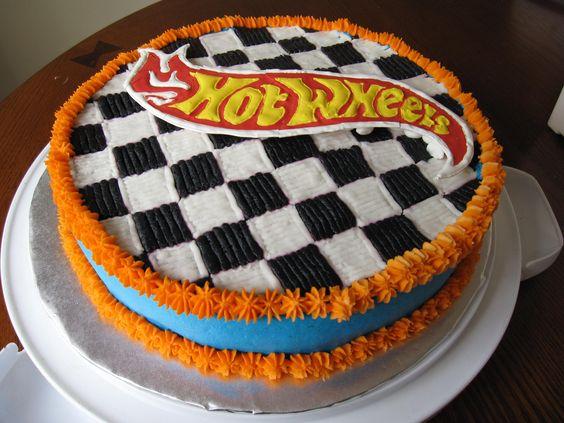 hot wheels cakes   hot wheels checkerboard — Children's Birthday Cakes: