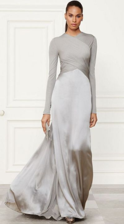 Metallic Dress Silver Long Sleeve Ball Gown Runway Fashion Ideas
