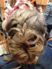curly bun prom hair and french
