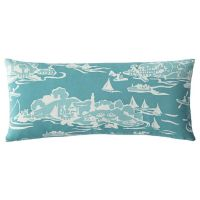 Skylake Toile Outdoor Lumbar Pillow  Turquoise