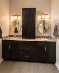 This master bathroom features a double sink vanity with ...