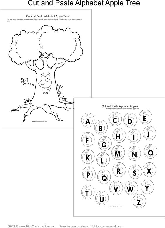 Cut and paste, Apple tree and Alphabet on Pinterest