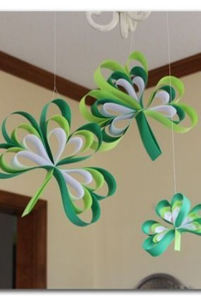 Fun shamrocks made out of paper: