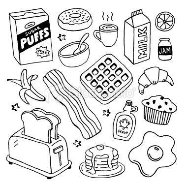 Breakfast Doodles Royalty Free Stock Vector Art