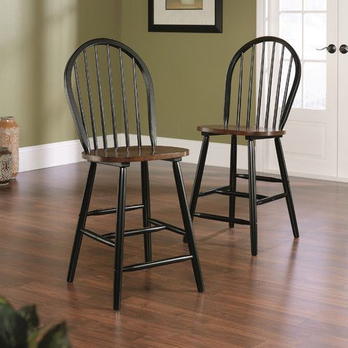 Counter Height Chairs Windsor Wood Spindle Oak Black