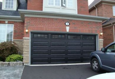 C229ae Black Garage Doors With Brick
