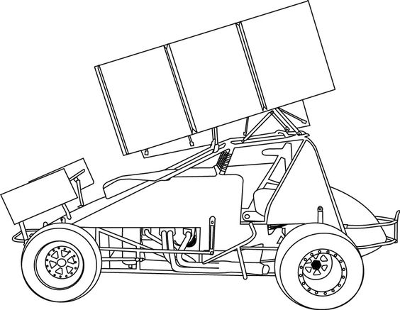 Sprint car coloring page