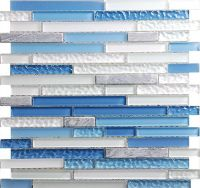 Sky Blue Linear Glass Mosaic Tile Sheets for Kitchen ...