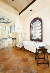 Mexican decor: saltillo tiles in a lovely bathroom