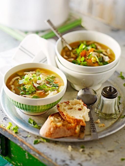 chicken soup with spring veg pasta recipe jamie oliver
