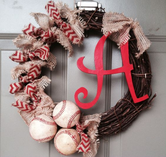Baseball wreaths Wreath burlap and Burlap baby showers on