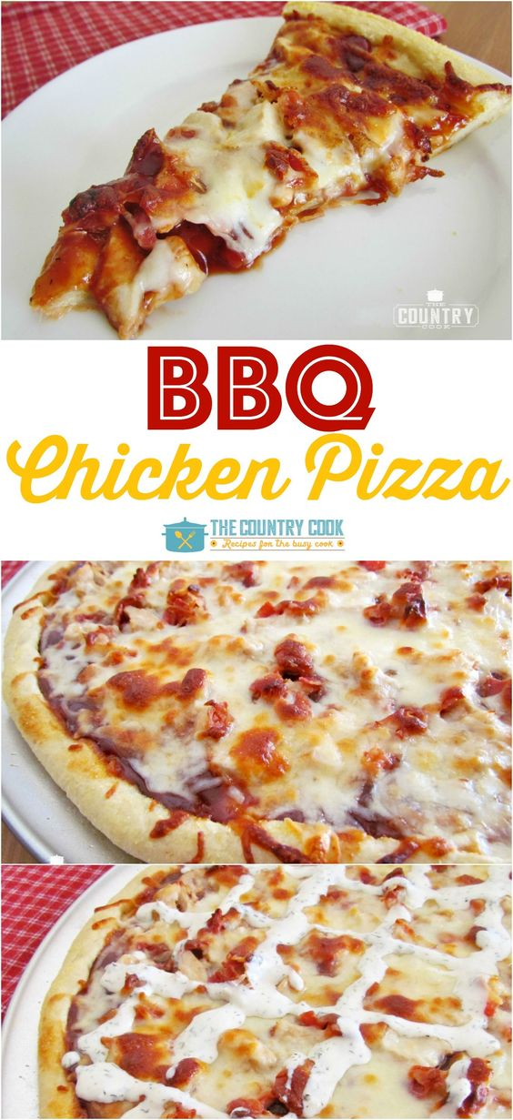 BBQ Chicken Pizza Recipe via The Country Cook - BBQ Chicken Pizza is a family favorite that whips up quickly. We love to drizzle it with a little ranch dressing. So good!