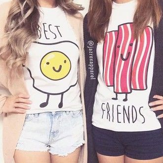 Best friend shirts Friends shirts and Bacon on Pinterest