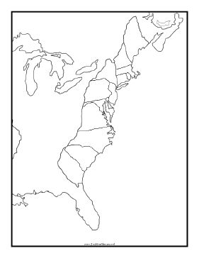 Blank 13 Colonies Map With Rivers