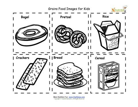 Grains Food Nutrition Flash Cards Cut Out Printable for