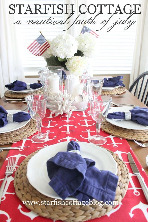 Join me today on Starfish Cottage for a Nautical Fourth of July table AND a fun design challenge! http://kristyseibert.com/blog/2015/07/a-nautical-fourth-of-july-table-setting-and-design-challenge.html