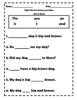 Sight words, Worksheets and Knowledge on Pinterest