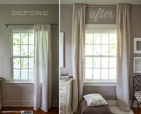 use curtains to make a low ceiling look higher
