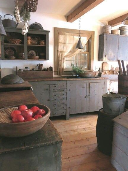 The white Window and Primitive kitchen on Pinterest