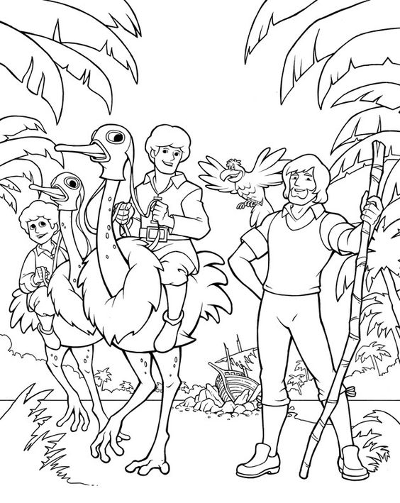 Swiss Family Robinson Coloring Page: Robinson Crusoe And