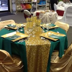 Chair Covers Ideas For Weddings Work Out Emerald Duchess Satin, Hollywood Sequin Gold Runner, Satin Covers, Green ...