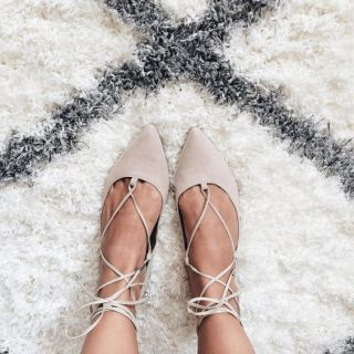 Cream Lace Up Flats: