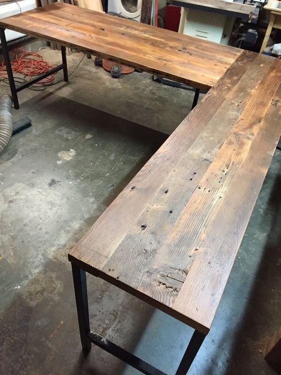L Shaped Desk Reclaimed Wood Desk Industrial by