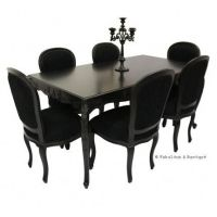 French Carved Dining Table & 6 Chairs - Black   Baroque ...