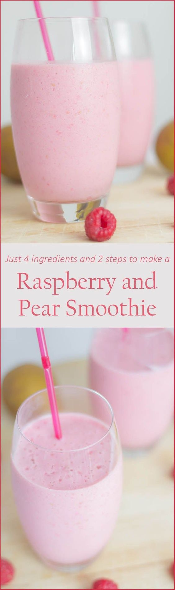Raspberry and Pear Smoothie Recipe via Neil's Healthy Meals - A delicious and naturally sweetened breakfast or pick me up snack smoothie. Creamy tasting and with plenty of zing.
