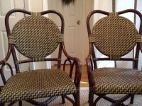Vintage French Bistro Chairs Pair Bamboo And Leather ...